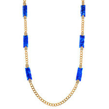 "36"" Blue Marble Stone Rhinestone Charmadillo Jewelry Gold Tone Chain Necklace"