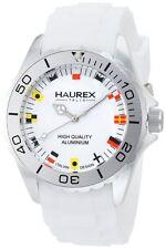 Haurex Italy Men's 1K374UWF Ink White Rubber Band Flag-Like Indices Aluminum Wat