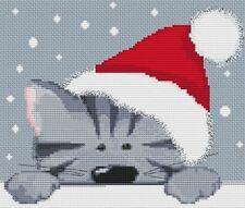 Grey Christmas Cat Cross Stitch Kit