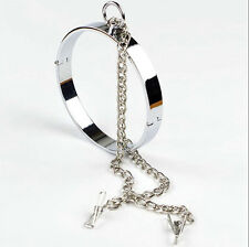 Clamp Flat Collars with Locking Slave Lockable Neck Ring Roleplay Female bnm