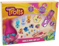 Trolls Ring And Nail Art Set - Nail Varnish, Nail Stickers, Rings and Earrings