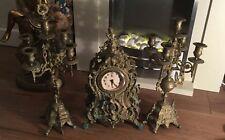 2 Antique Vintage Brass Candelabra  Holders And Brass Antique Clock