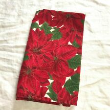 Single Vintage Style Poinsettia Square Cloth Napkin - Red Green Christmas Fabric