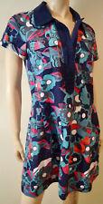 MARC BY MARC JACOBS Black Blue Pink Cotton Floral Print Short Sleeve Dress US8