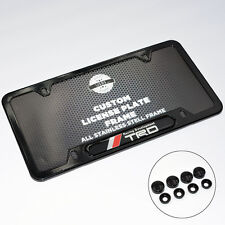 Car TRD Front Rear Black Metal License Plate Frame Cover Gift Accessories