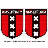 """AMSTERDAM Shield Netherlands, Dutch, Holland Vinyl Decals,Stickers 3"""" (75mm) x2"""