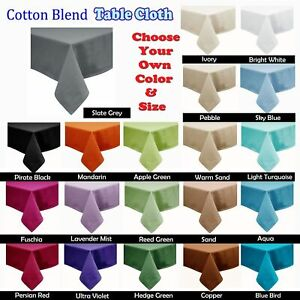 21 Color - Cotton Blend Table Cloth - ROUND SQUARE RECTANGLE 6-8, 8-10, 10-12...