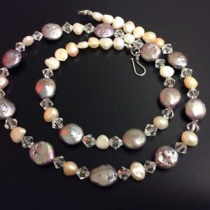 Striking Sterling Silver Cultured Freshwater Pearl Coin And Crystal Necklace