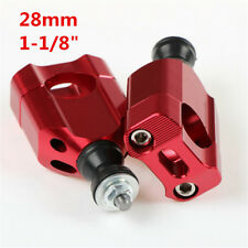 "1 1/8"" CNC Motorcycle Red Handle Bar Clamp Risers Retrofit Accessories Universal"