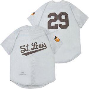 Throwback Satchel Paige #29 St. Louis Baseball Jerseys Gray Tan Sewn Custom Name