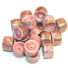 CPC239f Pink & Metallic Gold 12x8mm Round Heishi Porcelain Beads 20/pkg