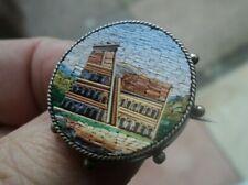 Victorian ITALIANO Micro Mosaico Argento Spilla di Metallo-COLOSSEO ROMA c.1880/90