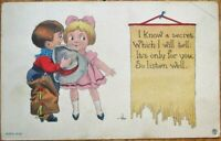 Bernhardt Wall/Artist-Signed 1915 Postcard: Cowoby & Little Girl Telling Secrets