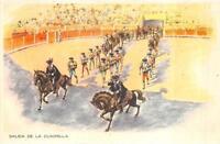 BARCELONA SPAIN BULL FIGHTING SALIDA DE LA CUADRILLA SPORTS POSTCARD (c. 1940s)