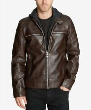$348 GUESS Men BROWN FAUX LEATHER MOTO BIKER FULL ZIP JACKET WINTER COAT L
