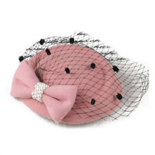 Women's Fascinators Hat Pillbox Hat Cocktail Party Hat with Dot Veil Bowkno W1B5