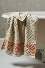NWT Anthropologie RAIA BATH FACE TOWEL Washcloth Burnt Orange Cotton Jacquard