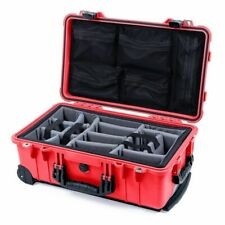 Red & Black Pelican 1510 case with grey dividers & mesh lid organizer.
