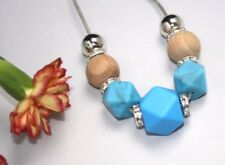 Silicone Necklace wood turquoise stone jewellery ladies silver crystal beads