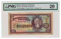 BRAZIL banknote 200 Mil Reis 1936 PMG VF20 Very Fine grade
