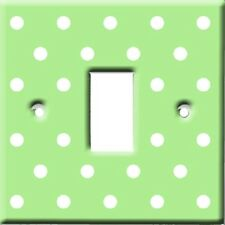 Brand New - Lime Green & White Polka Dots Light Switch Cover