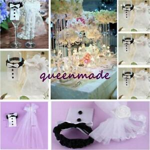 New Bride Groom Wedding Bridal Party Wine Glass Champagne Flute Cover Decors G