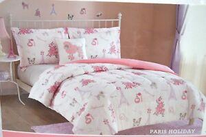 NEW CLOUD 9 / PICKLE & DOT PARIS 7PC TWIN COMFORTER SHAM SHEET SET PILLOW DECALS