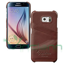 Custodia rigida POCKET Marrone per Samsung Galaxy S6 G920F tasche porta schede