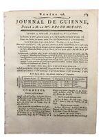 Bordeaux en 1788 Rare Journal de Guienne Vannes Vignoble Graves La Valadiere