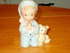 """New ListingHomco """"Little Boy Praying w/ Teddy Bear"""" Figurine #1433"""