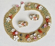 WHIMSICAL VINTAGE SANDOR ENAMEL FLOWER AND GLASS PEARL NECKLACE AND EARRINGS SET
