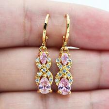 18K Yellow Gold Filled Women Girls Pink Teardrop Topaz Zircon Dangle Earrings