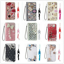 Girl Bling Glitter Rhinestone Wallet Case Lanyard Crystal Card Slot Stand Cover