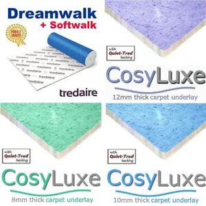 Foam CARPET UNDERLAY Tredaire Dreamwalk Softwalk CosyLuxe LOW PRICE 8-12mm thick