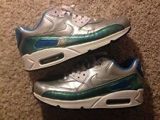 Nike Air Max 90 744596-002 Silver Clearwater Blue Womens Running Shoes US Sz 7.5