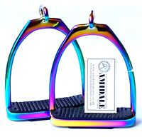 AMIDALE RAINBOW GLOSS OFFSET SIMPLE S.STEEL FILLIS IRONS STIRRUPS HORSE RIDING