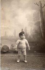 BL017 Carte Photo vintage card RPPC Enfant bébé décor studio lac forêt