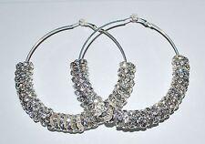 3'' Large Hoop Rhinestone Earrings Basketball Wives with 12mm Rondelles - E76