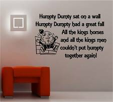 Humpty Dumpty rima Pared Arte Adhesivo De Vinilo Niños Dormitorio