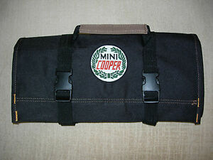 "MINI COOPER LOGO/Austin/Morris/Rover ""NEW ALL BLACK"" !!! Classic Tool Roll"
