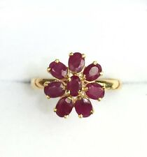 14k Solid Yellow Gold Cute Flower Cluster Ring, Natural Ruby 1.5TCW,size7.75