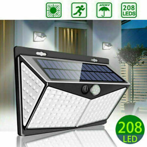 Solar Powered 208 LED PIR Motion Sensor Wall Security Lights Garden Outdoor Lamp