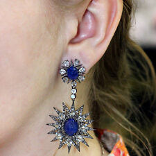 Blue Sapphire Dangle Earrings 14k Gold Diamond Pave Sterling Silver Jewelry OY