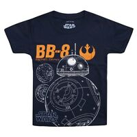 Star Wars Official Boys - BB8 Astro Droid - Kids T-Shirt - Navy