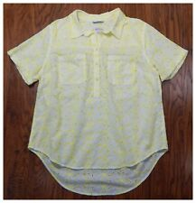 Women's MERONA Yellow Short Sleeve Embroidered Eyelet Top Shirt Size XXL B3
