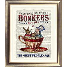 ART PRINT ANTIQUE BOOK PAGE Bonkers ALICE IN WONDERLAND Mad Hatter's TEA PARTY