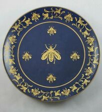 Andrea by Sadek Blue and Gold Bumble Bee Decorative Plate