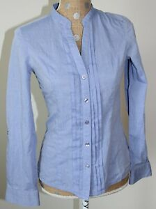 H&M Blue Button Down Blouse Top Long Sleeve Cotton Fitted SIZE 6