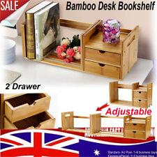 Bamboo Wooden Adjustable Desk Bookshelf Book Shelf Rack Stand Organizer Elegant