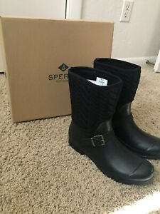 NWT Sperry Duck Boot Quilted Nylon Rain Boots Black Size 10